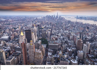 Aereal view of Manhattan at sunset.
