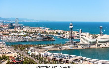 Aeria view of barcelona city and beach ,Spain
