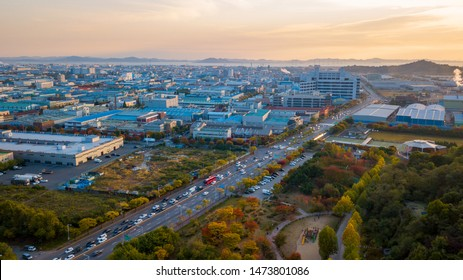 Aeria view of incheon industry park.South Korea