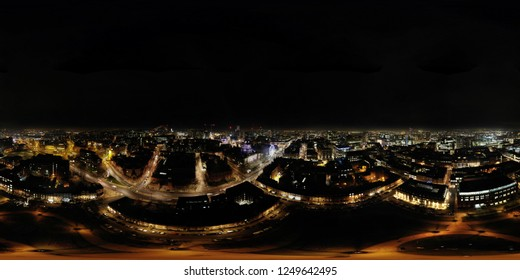 Aerial 360 Degree spherical panorama image taken above the Leeds City Center, VR night image in West Yorkshire.