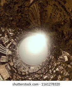 Aerial 360 degrees Panorama above the Botanical Garden named after M. M. Grishka in Kiev. Photo in the style of the film Inception. Conceptual photo of the apocalypse, spiral of time, black hole