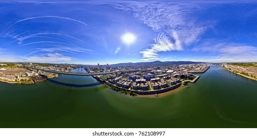 Aerial 360 panorama of the Fremont Bridge from the NW side in downtown Portland Oregon on a blue sky, sunny day - Aug 2017