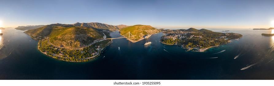 Aerial 360 panorama photo of Dubrovnik bridge Lapad peninsula in Adriatic sea in Croatia summer sunset