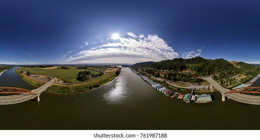 Aerial 360 Panorama  of the Sauvie Island Bridge on a blue sky, sunny day near Portland Oregon - Aug 2017 - Shot with DJI Inspire 2 - X5S - Oly 12mm