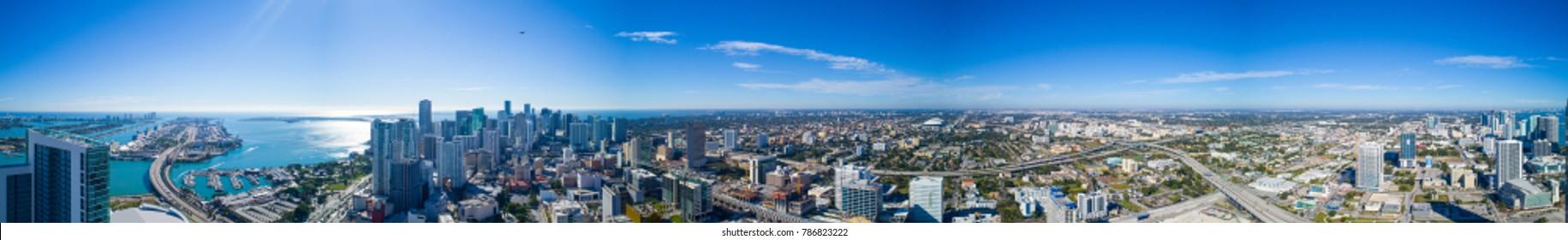 Aerial 360 panoramic image of Downtown Miami FLorida USA