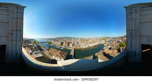 Aerial 360 VR panorama of the historic center of Zurich in Switzerland