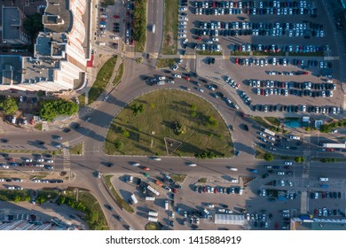 Aerial 4k top view of traffic in a circle