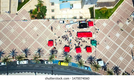 Aerial 90 degree angle of Pride parade in Ashdod, Israel at August-02-2019.