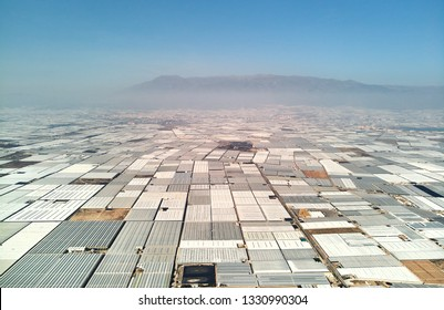Aerial above drone point of view many polythene plastic exterior greenhouses hothouses where cultivated fruits and vegetables in the Almerimar, province of Almeria, Andalucia or Andalusia, Spain