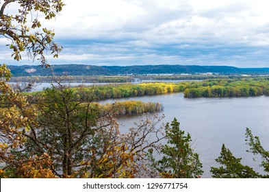 aerial above mississippi river from effigy mounds national monument in iowa and wisconsin across river