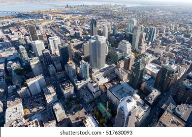 Aerial from from above Montreal city center and its landmark buildings, Canada.