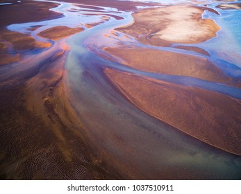 Aerial abstract photo of an Icelandic glacial river system near the southern town of Hella, Iceland.