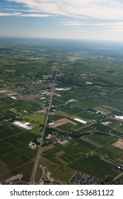 Aerial of agricultural lands and rural town Virgil Ontario