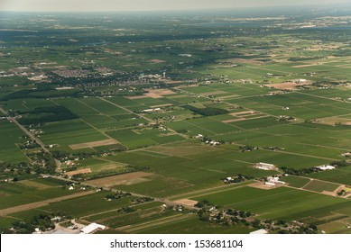 Aerial of agricultural patchwork