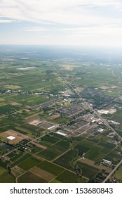 Aerial of agricultural and rural town Virgil Ontario.