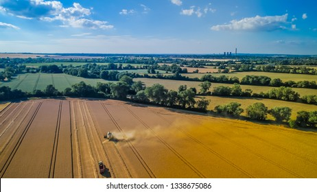 Aerial agriculture photography of the harvest in England, Summer 2018.