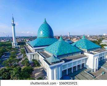 Aerial Al Akbar Mosque Surabaya, is a Located in SURABAYA INDONESIA with blue sky background