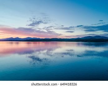 Aerial of an amazing sunset at Loch Creran, Barcaldine, Argyll,Scotland