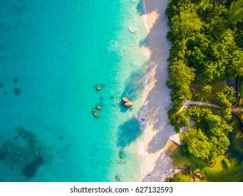 Aerial: Anse Lazio, Praslin Island, Seychelles