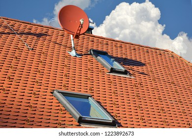 Aerial Antenna on tiled Roof