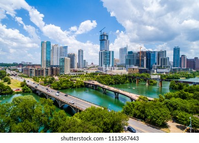 Aerial Austin Texas USA summer refreshing blue and green travel destination and the number one best place to live in America. Growing city skyline cityscape with nature town lake and Colorado River