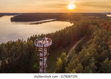 Aerial autumn evening view of observation tower in Labanoras regional park, Moletai, Lithuania