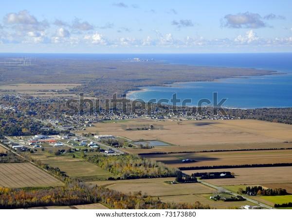 aerial Autumn lake landscape, lake Huron coastline near Port Elgin Ontario Canada