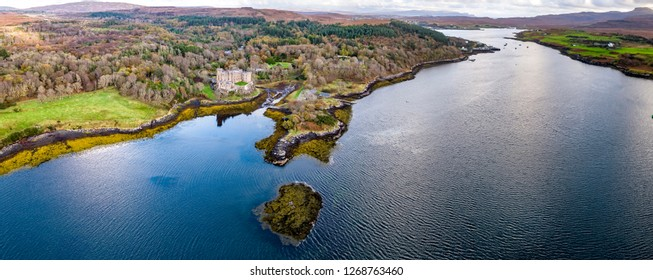Aerial autumn view of Dunvegan Castle, Isle of Skye - Aerial