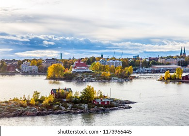 Aerial autumn view of Helsinki and island  on Baltic Sea in Helsinki with city on background, Finland.