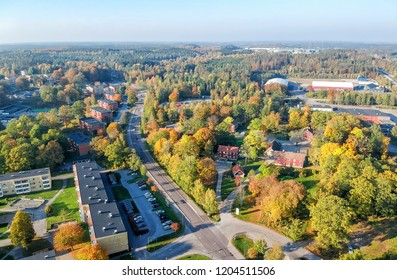 Aerial autumn view over small city in Sweden