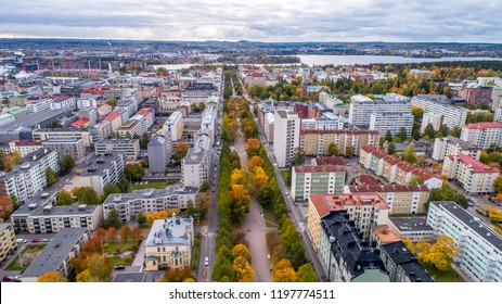 Aerial autumn view  of the Tampere city in autumn with colorful leaves.Finland