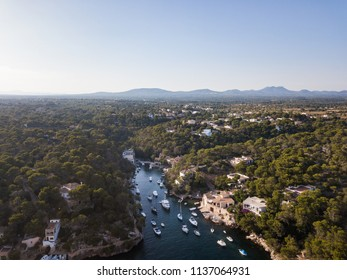 Aerial: The bay of Cala Figuera in Mallorca, Spain
