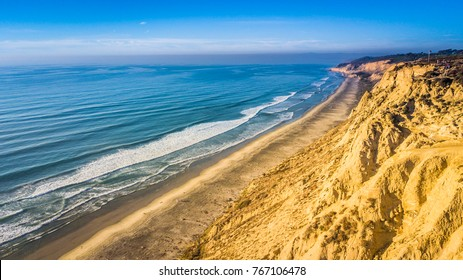 Aerial of beach in Blacks Beach, San Diego, California.