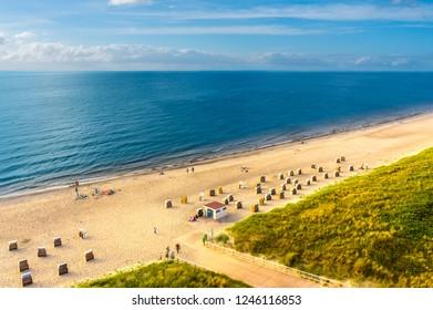 Aerial beach drone photo Baltic Sea beach
