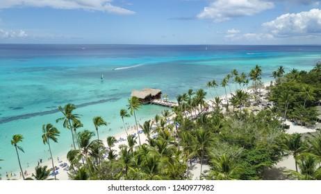 Aerial of beach resort in La Romana, Dominican Republic
