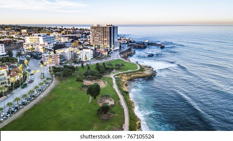 Aerial of beach in San Diego, California. La Jolla area.