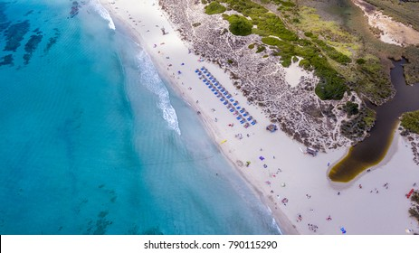 Aerial Beach View Son Bou Menorca Spain