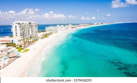 aerial beach view of a wonderful caribbean beach in Cancun, Mexico