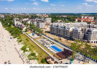 Aerial: The beach of Zelenogradsk in the summertime