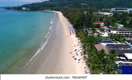 Aerial of beautiful Kampala Beach in Phuket, Thailand