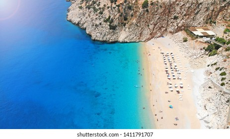 Aerial. Beautiful Kaputas beach with turquoise water, Turkey. Picturesque sea bay in southwestern Turkey. Top view.