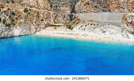 Aerial. Beautiful Kaputas beach with turquoise water, Turkey. One of the world best beaches. Picturesque sea bay in southwestern Turkey. Top view.