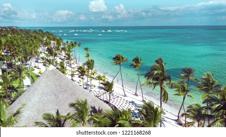 Aerial of beautiful white sandy beach in Punta Cana, Dominican Republic