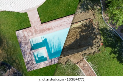 Aerial of Before and After Pool Build Construction Site.