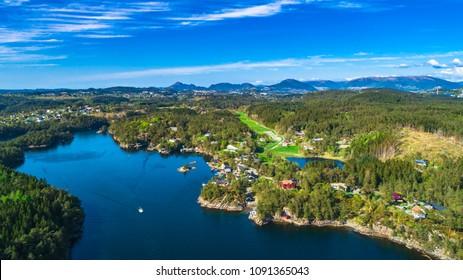 Aerial Bergen city view. Bergen, Norway.