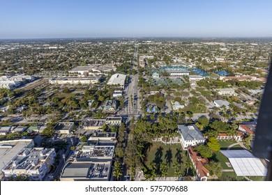 Aerial, Bird Eye of Delray Beach, Florida USA