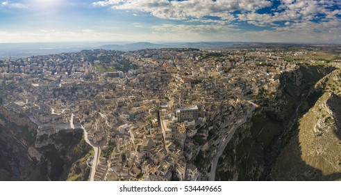 aerial bird eye view of matera in southern italy