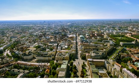 Aerial Bird Eye View Photo of Munich Cityscape feat City Center and Town Hall with Gothic Iconic Towers, Central Square, Landmark Buildings in Germany