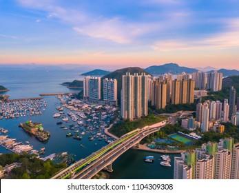 Aerial bird eye view Photography Seaside Skyscrapers in Aberdeen,Hong Kong