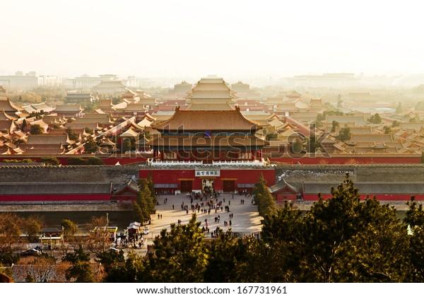 An aerial bird view of the Forbidden City.